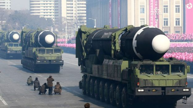 Hwasong-15 ballistic missile during the military parade to mark the 70th anniversary of the Korean People's Army at Kim Il Sung Square in Pyongyang.