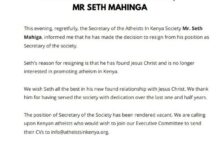 Photo of Kenyan atheist group secretary resigns after coming to faith in Jesus Christ