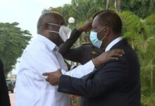 Photo of Ivory Coast president and rival in first meeting since civil war